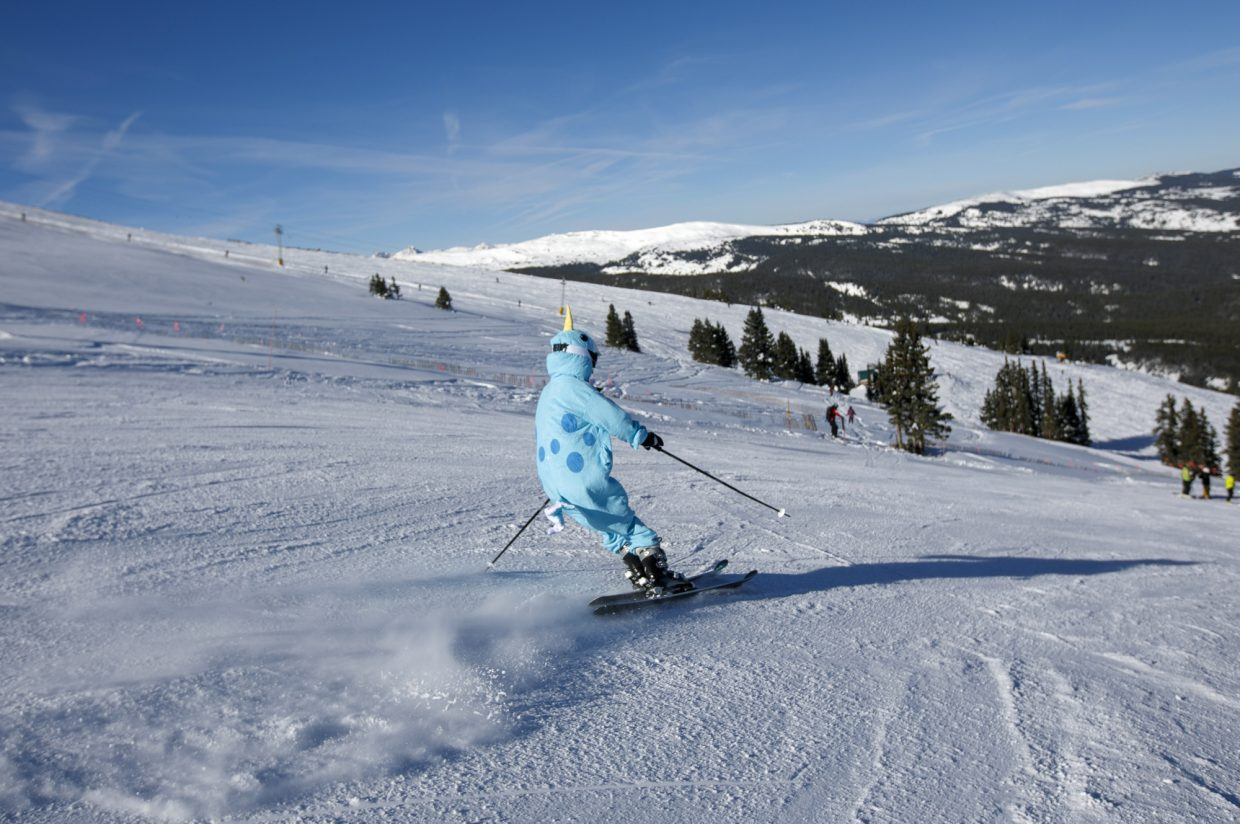 A skier enjoys the groomers on the opening day of 2018-2019 season Friday, Nov. 16, at Copper Mountain.