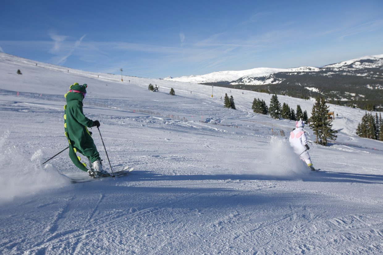 Skiers enjoy the groomers on the opening day of 2018-2019 season Friday, Nov. 16, at Copper Mountain.