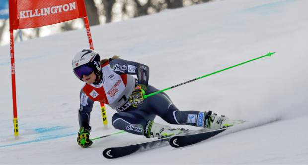 Norway's Ragnhild Mowinckel competes during the first run of the alpine ski women's World Cup giant slalom in Killington, Vt., on Saturday, Nov. 24.