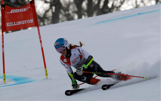 The United States' Mikaela Shiffrin competes during the first run of the alpine ski women's World Cup giant slalom in Killington, Vt., on Saturday.