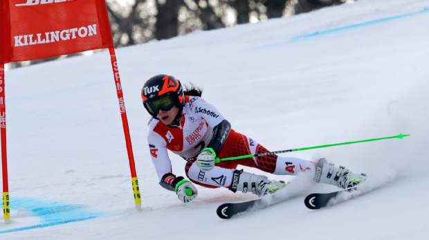 Austria's Stephanie Brunner competes during the first run of the alpine ski women's World Cup giant slalom in Killington, Vt., on Saturday, Nov. 24.