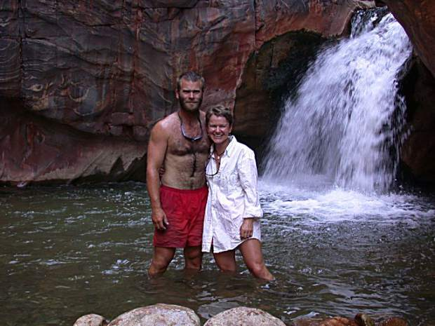 Husband and wife Dave and Amanda Repsher pose for a photo during a rafting trip on the Colorado River through the Grand Canyon in this undated photo provided by the Repshers. Dave Repsher was badly burned in a July 2015 Flight For Life helicopter crash and has been fighting to reclaim pieces of his life ever since.