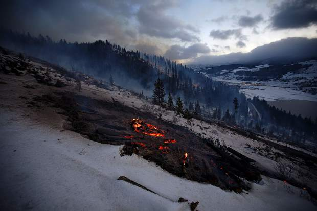 Remains of slash pile burns from the previous day seen on Nov. 8, along Swan Mountain Road near Frisco.