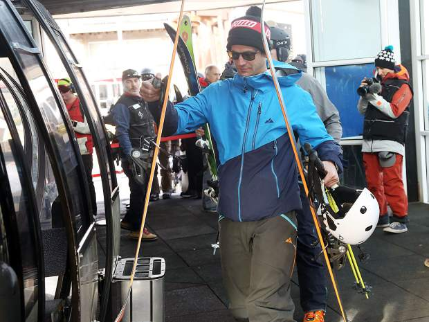 Skiers board the Silver Queen Gondola for Aspen Mountain opening day on Saturday, Nov. 17, 2018.