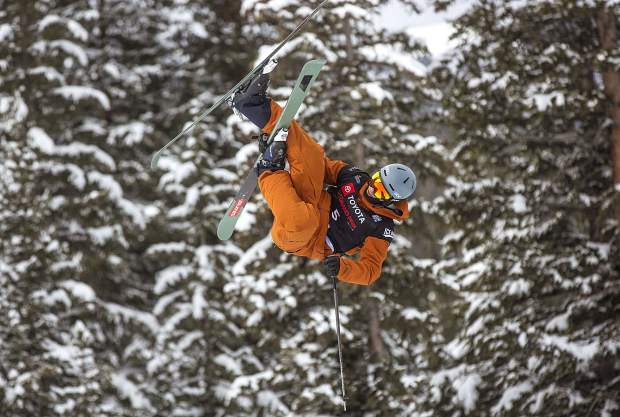 Thomas Krief, of France, in midair among fine trees during the qualifiers Wednesday, Dec. 5, at Copper Mountain.