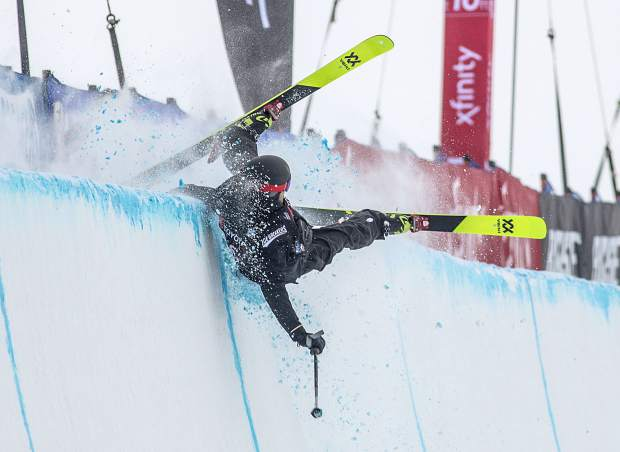 Freeskier Kevin Rolland, of France, crashes on the halfpipe wall during the qualifiers of the Toyota U.S. Grand Prix competition Wednesday, Dec. 5, at Copper Mountain. Rolland did not qualify for finals.