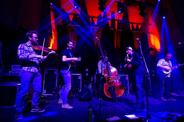 A band performs before the main event of The Infamous Stringdusters Friday, Dec. 28, inside the 10 Mile Music Hall in Frisco.