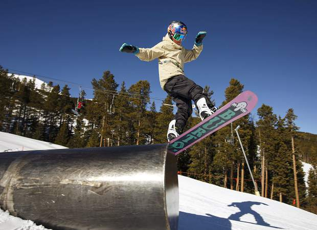 Jake Canter, 15, hucks his 5-foot-4, 115-pound frame off of a tube rail at Breckenridge Ski Resort on Friday, Feb. 1. The Silverthorne-resident rider Canter competed at the Winter X Games in Aspen last week fewer than two years after a serious head injury nearly took his life.