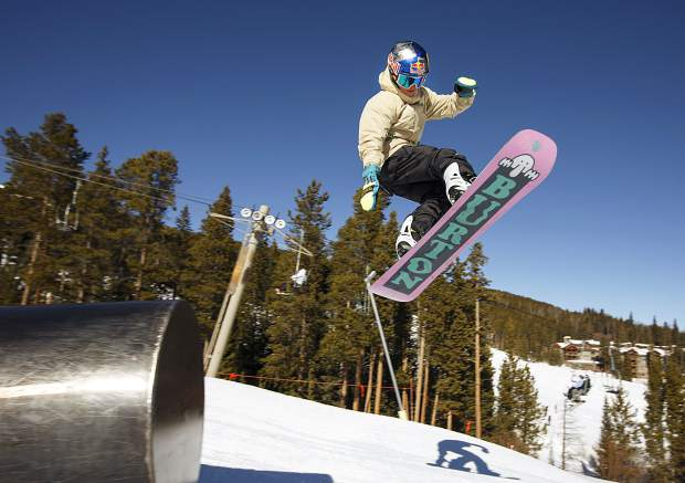 Jake Canter, 15, spots the landing for his 5-foot-4, 115-pound frame while riding the terrain park at Breckenridge Ski Resort on Friday, Feb. 1. The Silverthorne-resident rider Canter competed at the Winter X Games in Aspen last week fewer than two years after a serious head injury nearly took his life.