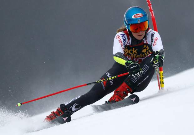 Mikaela Shiffrin speeds down the course during an alpine ski women's World Cup giant slalom event in Maribor, Slovenia on Friday.