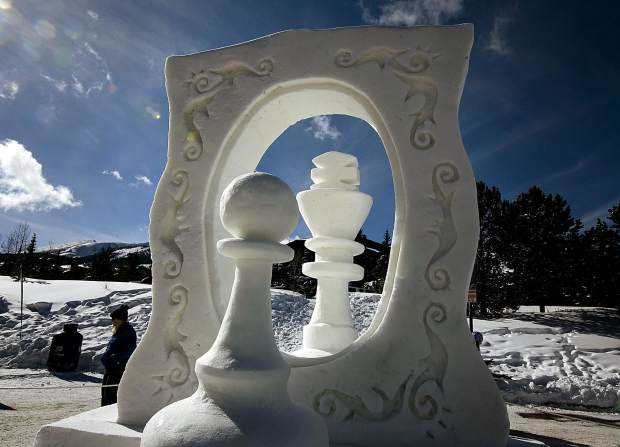 Pawn's Dream, by Team Turkey, on display during the International Snow Sculpture Championships Friday, Jan. 25, at the RIverwalk Center in Breckenridge.