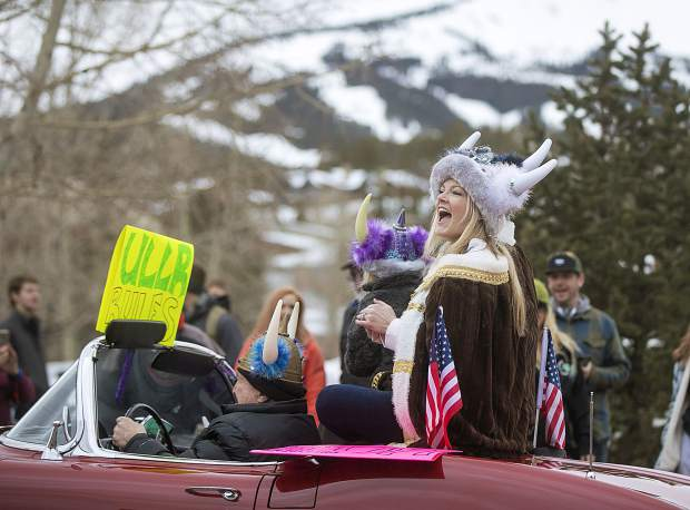 Ullr Queen Erin Beckerman cheer on the spectators during the 56th Ullr Fest Parade Thursday, Jan. 10, on Main Street in Breckenridge.