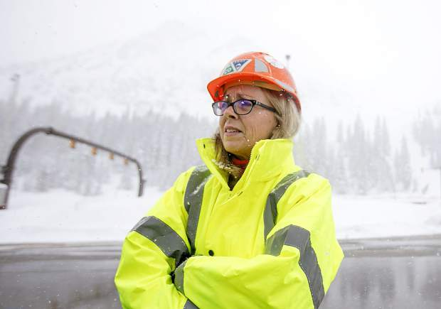 CDOT spokeperson Tracy Trulove speaks to the media along Interstate 70 during snowstorm Thursday, March 7, at Loveland Pass.