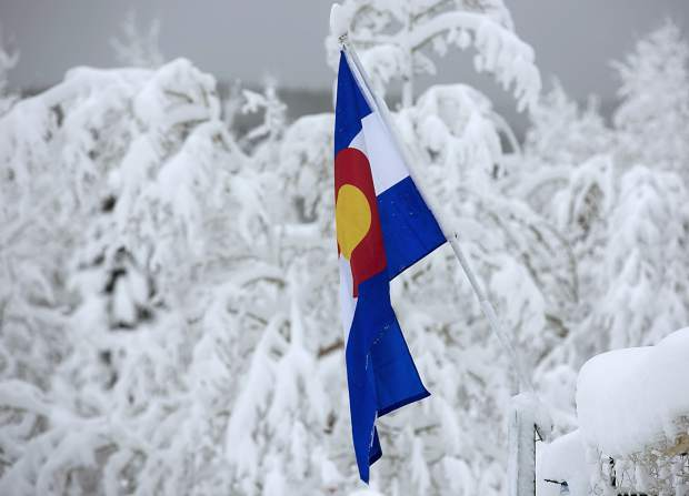A Colorado flag along Main Street Thursday, March 7, in Frisco.