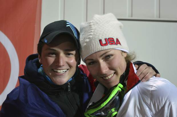Thomas Walsh and Mikaela Shiffrin pose in Sochi, Russia at the 2014 Winter Olympics. Ten years ago, ski racer Thomas Walsh was diagnosed with cancer that ended up taking parts of his pelvis. By his side that day was Olympic champion Mikaela Shiffrin. She remains one of his biggest fans as Walsh rises through the ranks as a Paralympian.