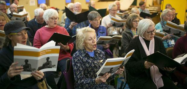 The Summit Choral Society rehearses on Monday, March 25, at the Christ Lutheran Church in Breckenridge.