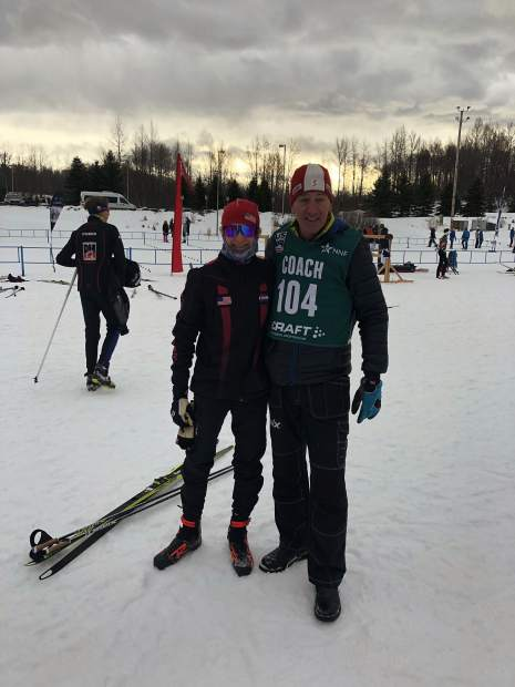 Summit county local Lasse Konecny, left, poses for a photo with his coach Jim Galanes of Summit County at last week's U.S. Cross Country Junior Nationals in Anchorage, Alaska. Paired with a couple of Steamboat Springs Winter Sports Club athletes, the Rocky Mountain region trio raced to a second-place finish in the boys U-16 3X3-kilometer freestyle relay.