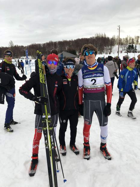 Summit county local Lasse Konecny, left, poses for a photo with his Rocky Mountain region relay-race teammates Wally Magill and Sumner Cotton, both of the Steamboat Springs Winter Sports Club, at last week's U.S. Cross Country Junior Nationals in Anchorage, Alaska. The trio raced to a second-place finish in the boys U-16 3X3-kilometer freestyle relay.