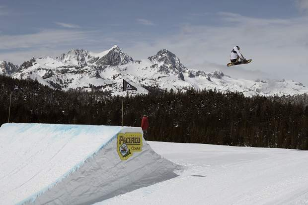 Chris Corning of Silverthorne executes a trick off of a slopestyle jump during qualifiers last week at the Toyota U.S. Grand Prix at Mammoth Mountain Resort in California. Corning finished in fifth place.