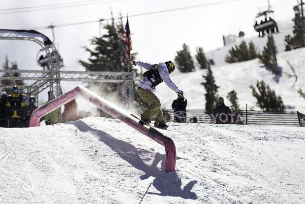 Chris Corning of Silverthorne executes a trick on a slopestyle rail during qualifiers last week at the Toyota U.S. Grand Prix at Mammoth Mountain Resort in California. Corning finished in fifth place.