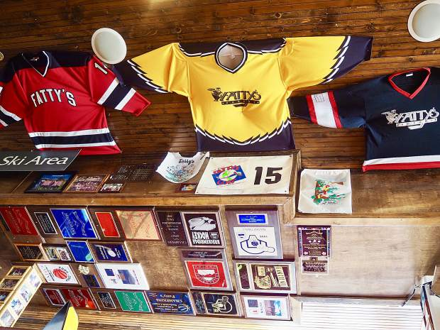 Existing in Breckenridge since 1975, Fatty's Pizzeria is decorated with a plethora of sports memorabilia.