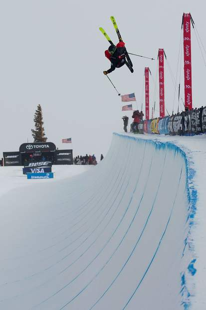 U.S. Rookie Team freeskier Jaxin Hoerter, 18, of Breckenridge inverts high above the halfpipe during Saturday's freeski halfpipe finals at the 2019 Toyota U.S. Grand Prix at Mammoth Mountain Resort in California. Hoerter's fifth-place finish against a collection of the world's best halfpipe skiers was the strongest yet of his young career.