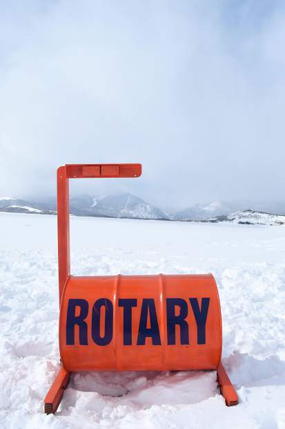 The Rotary ice device is a 55-gallon drum full of air and weighted on one side. It contains a clock that will stop the instant the ice breaks and the device falls into water.