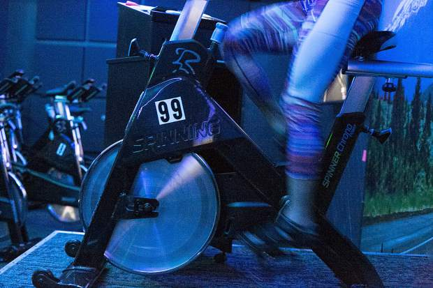 Psycle 9600 Spin Studio owner Melissa Dasakis leads a spin class Wednesday, March 6, at the Main Street Station in Breckenridge.