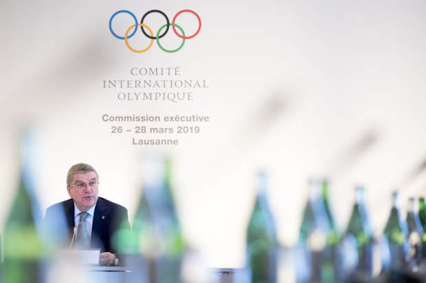International Olympic Committee (IOC) president Thomas Bach from Germany speaks at the opening of the first day of the executive board meeting of the International Olympic Committee (IOC), in Lausanne, Switzerland on Tuesday.