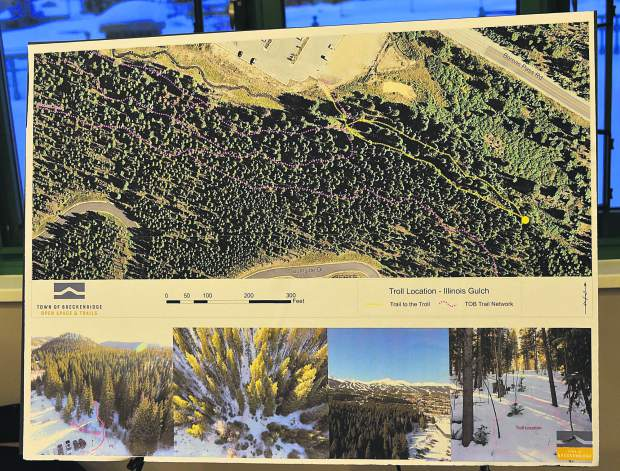 This posterboard presented Monday at the Breckenridge Recreation Center shows where a reimagined sculpture of a troll will be rebuilt this spring.