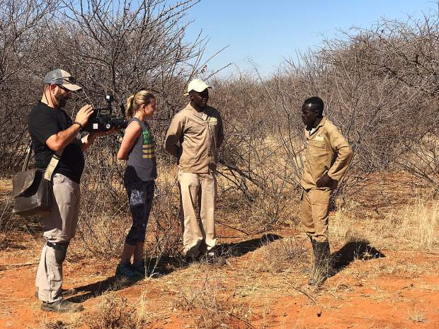 Devon Galpin, second from left, interviews Namibian park rangers while filming for Endangered Activism's upcoming feature documentary. Galpin interviewed nearly 50 wildlife officials, scientists, conservationists, activists and locals for the film.
