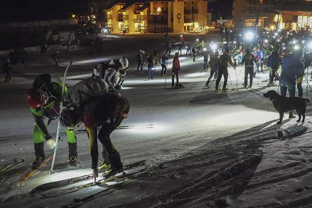 Racers get ready at the base of Crested Butte Mountain Resort in Crested Butte before the start of the Grand Traverse ski race between Crested Butte and Aspen on Friday.