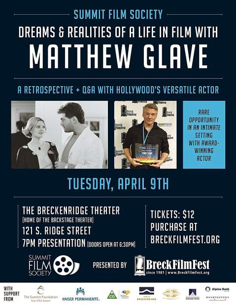 "Tuesday's program at The Breckenridge Backstage Theatre includes film clips from Matthew Glave's career, his latest short ""The CNO,"" and will be followed by a Q&A."