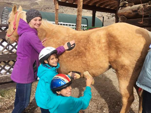 Children with SOS Outreach work with horses at the Blue River Horse Center in this photo provided by the center. The center is getting ready to welcome this year's crop of horses and will have a Meet the Horses Day on May 11.