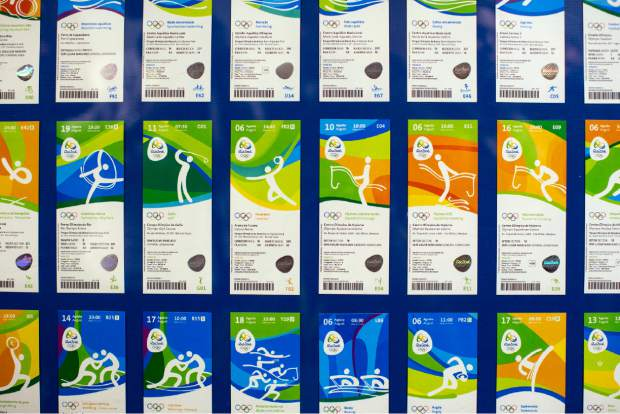 Olympic tickets are displayed during an event at the Rio 2016 headquarters in Rio de Janeiro, Brazil. Tokyo Olympic organizers launched their ticket website on Thursday.