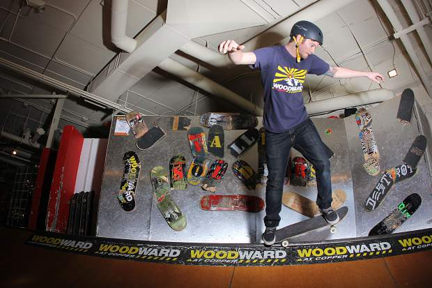 A skateboarder rides in the Woodward Copper barn in 2012.