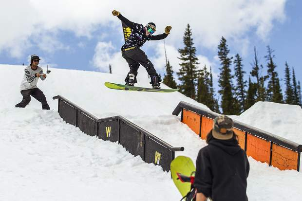 Michigan native and Silverthorne resident snowboarder Kyle Mack, who won a silver medal in big air at the 2018 Winter Olympics, rides through Woodward Copper's Pipeline summer terrain park on-mountain at Copper Mountain Resort.