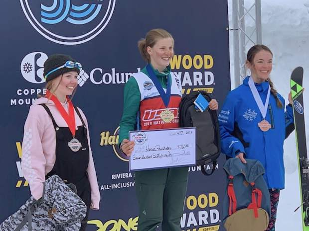 Hanna Faulhaber won the women's ski halfpipe contest at the 2019 USASA National Championships early in April at Copper Mountain.