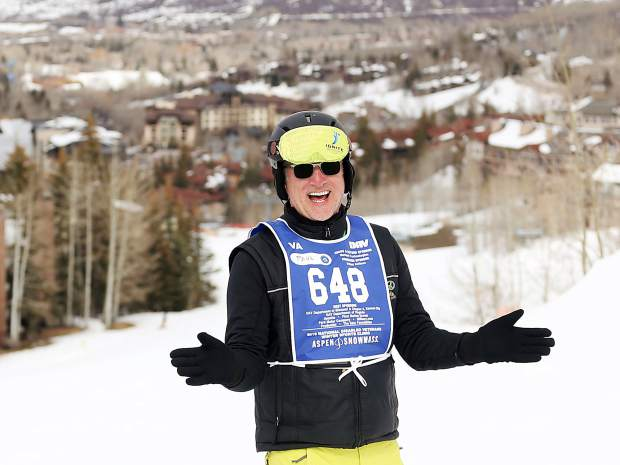 Instructor Paul Dowsett shares a laugh with trainee George Kellogg (not pictured) during the National Disabled Veterans Winter Sports Clinic in Snowmass on Wednesday.
