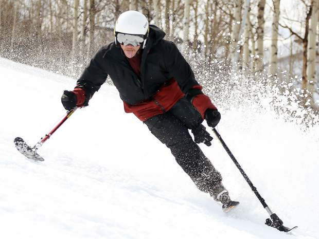 George Kellogg, a former Marine and one-legged skier, takes part in the National Disabled Veterans Winter Sports Clinic in Snowmass on Wednesday.