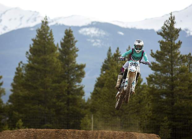 Shannatay Bergeron of Vail rides her dirt bike during the weekly