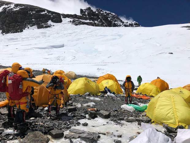 This May 21 photo provided by climber Dawa Steven Sherpa shows Camp Four, the highest camp on Mount Everes,t littered with abandoned tents. The record number of climbers on Mount Everest this season has left a cleanup crew grappling with how to clear away everything from abandoned tents to human waste that threatens drinking water.