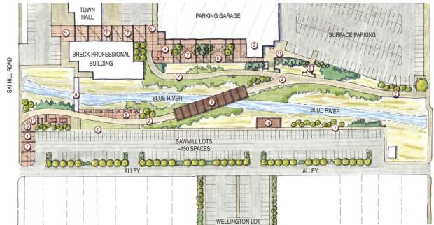 This rendering shows a conceptual site plan for a new parking garage on the South Gondola Lot in downtown Breckenridge with corresponding improvements for the surrounding area that could be completed in subsequent phases of the project.
