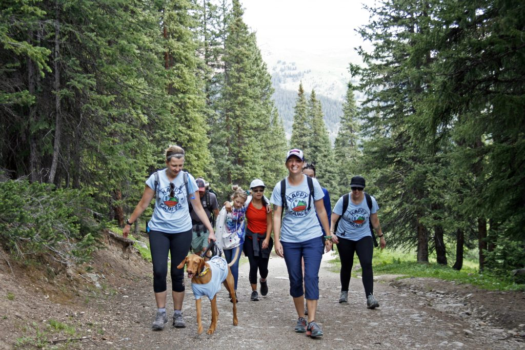 Campers and counselors hike during this week's Breckenridge Outdoor Education Center cleft palate camp with Children's Hospital Colorado Springs.