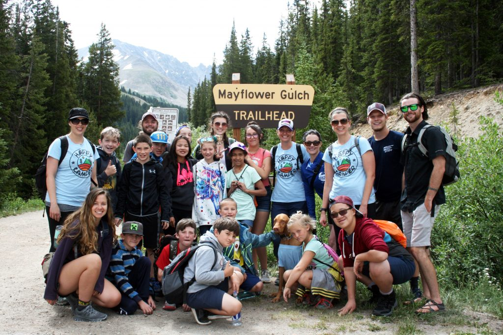 Campers and counselors pose for a photo at the Mayflower Gulch trailhead during this week's Breckenridge Outdoor Education Center cleft palate camp with Children's Hospital Colorado Springs.