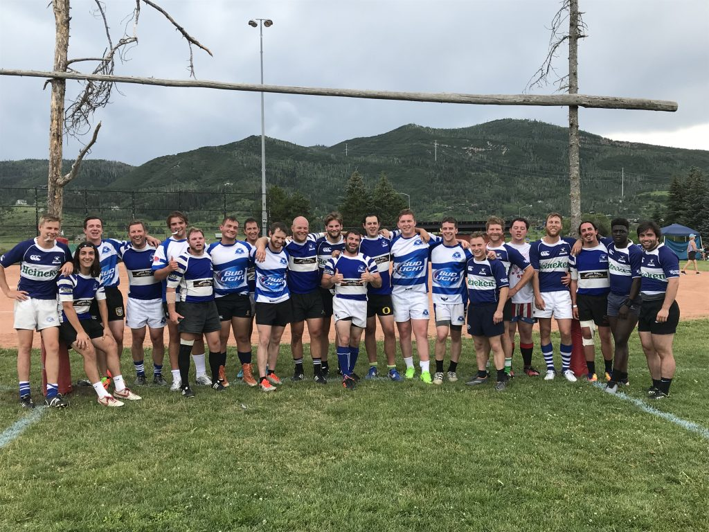 Members of Breckenridge's Gentlemen of the Blue Goose Rugby Club take a team photo at the Cowpie Classic rugby tournament earlier this month in Steamboat Springs.