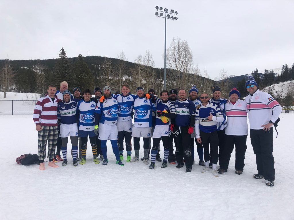 Members of the Gentlemen of the Blue Goose Rugby Club come together for a team photo at the club's annual St. Valentine's Day Massacre Tournament in February in Breckenridge.