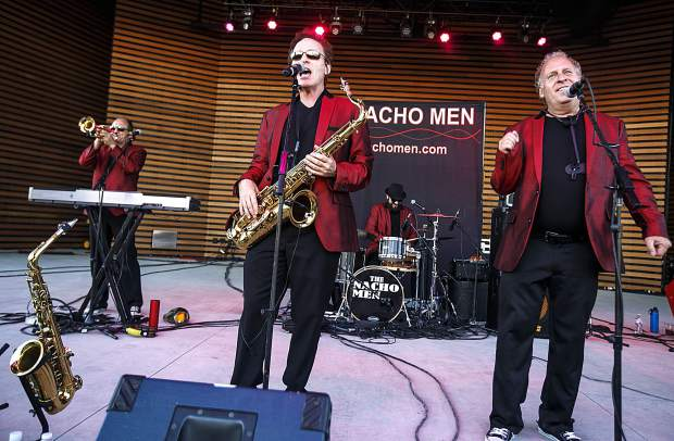 The Nacho Men band performing on Friday, July 29, 2018, at the Dillon Amphitheater. Formed in 1980, The Nacho Men have used their special blend of dance music, costume changes, choreography, and side-splitting humor to keep all generations of fans coming back for their high energy interactive rock 'n' roll show. The band returns to the amphitheater for a free concert on Friday, July 5, at 7 p.m.