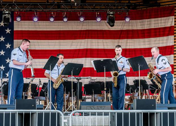A jazz quartet with the Air Force Academy Band entertains crowds at the Dillon Amphitheater on July 4, 2019.
