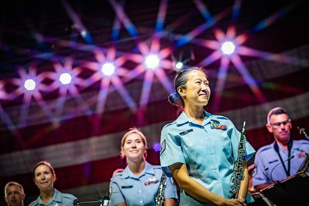 The Air Force Academy Band performs at the Dillon Amphitheater on July 4, 2019.
